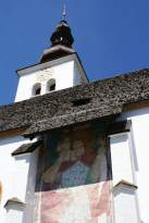 freskó a templom oldalfalán